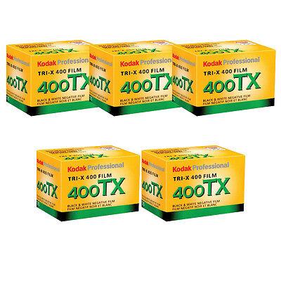 5 Rolls Kodak Tx 400 135 36 35Mm Tri X Pan Black And White 35Mm Film