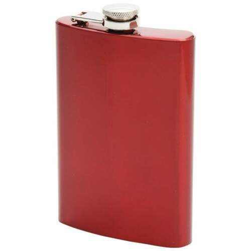 FLASK Metallic Red 8oz Stainless Steel Screw Down Cap Liquor Alcohol Hip Pocket