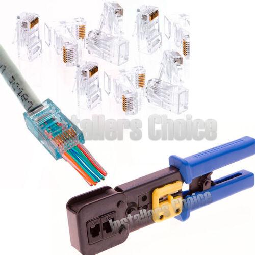 50 Pcs Cat5e RJ45 Network Modular Plug Connector Crimp Tool End Pass Through