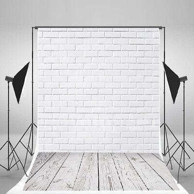 3x5FT White Brick Wall Wood Floor Photography Backdrop Studio Photo Background