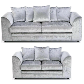 New Sofa in crushed velvet in Mink, Black and Silver
