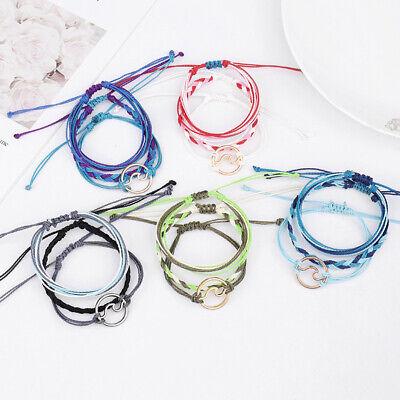 Multi-layer Woven Rope Wave Charm Bracelet Woman Bohemia Surf Anklet Bangle Gift](Woven Bracelet)