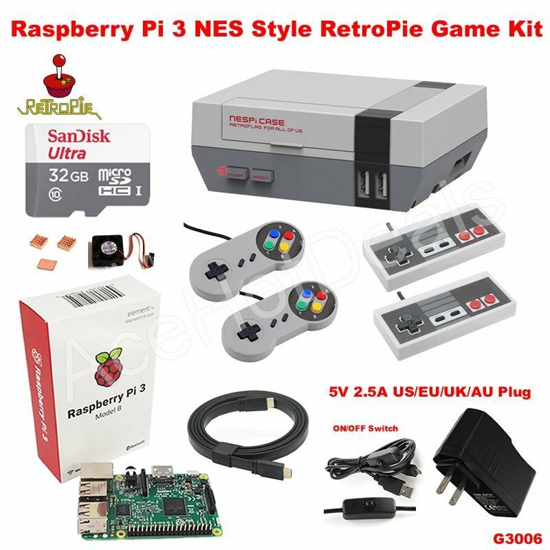 Computer Games - Raspberry Pi 3 Model B 32GB Retroflag NESPi Style Case RetroPie Game Kit G3006