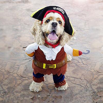 Haustier kleine Hund Piraten Kostüm Outfit Overall Stoff für Halloween UE