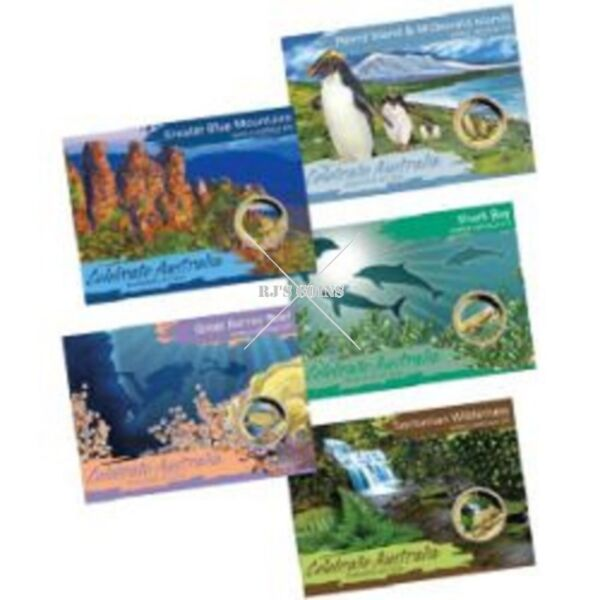 CELEBRATE AUSTRALIA-WORLD HERITAGE SITES 2012 FIVE $1 BASE METAL COIN COLLECTION FROM THE PERTH MIN0