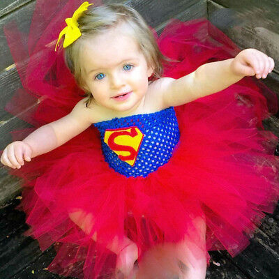 Batman Baby Costume (Super Hero Tutu Dress Birthday Party Costume Batman Superman Baby Girl Props)