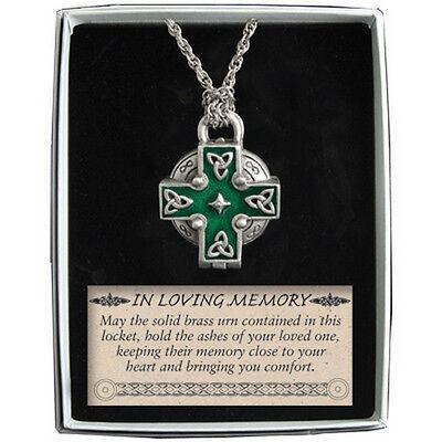 Memorial Locket Necklace Celtic Cross NEW Ash Urn Inside In Loving Memory -