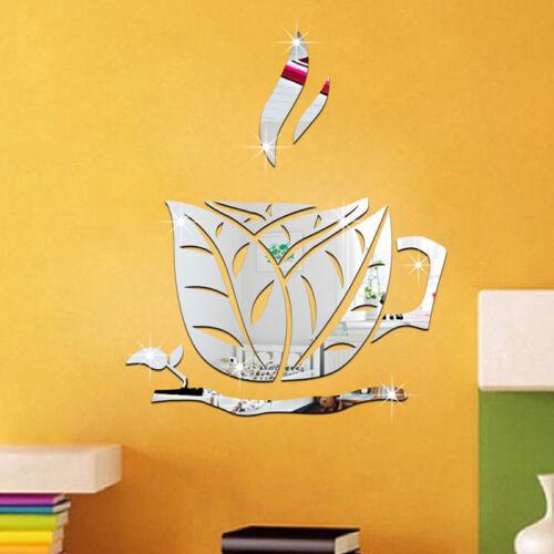 Kitchen 3D Coffee Cup Acrylic Mirror Wall Stickers Vinyl Dec