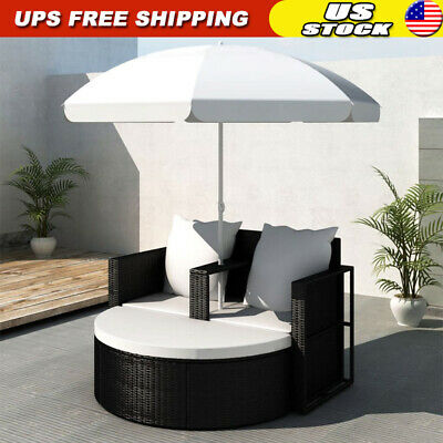 Garden Furniture - Patio Sofa Set Rattan Furniture Outdoor Wicker Garden Lounger Daybed w/Parasol