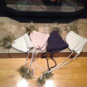 9870d3308a5 Crochet baby bonnet w pom poms-made with 100% cotton from Turkey
