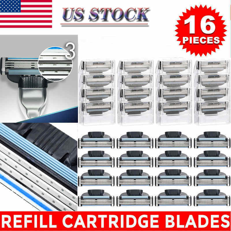 16Pcs Men Razor Blades for Gillette MACH 3 Shaver Shaving Cartridges Refill USA