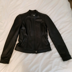 Danier black biker leather jacket