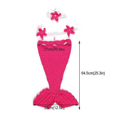 Newborn Baby Girl Knit Crochet Mermaid Tutu Dress Costume Baby Photo Prop Outfit - Mermaid Tutu Dress