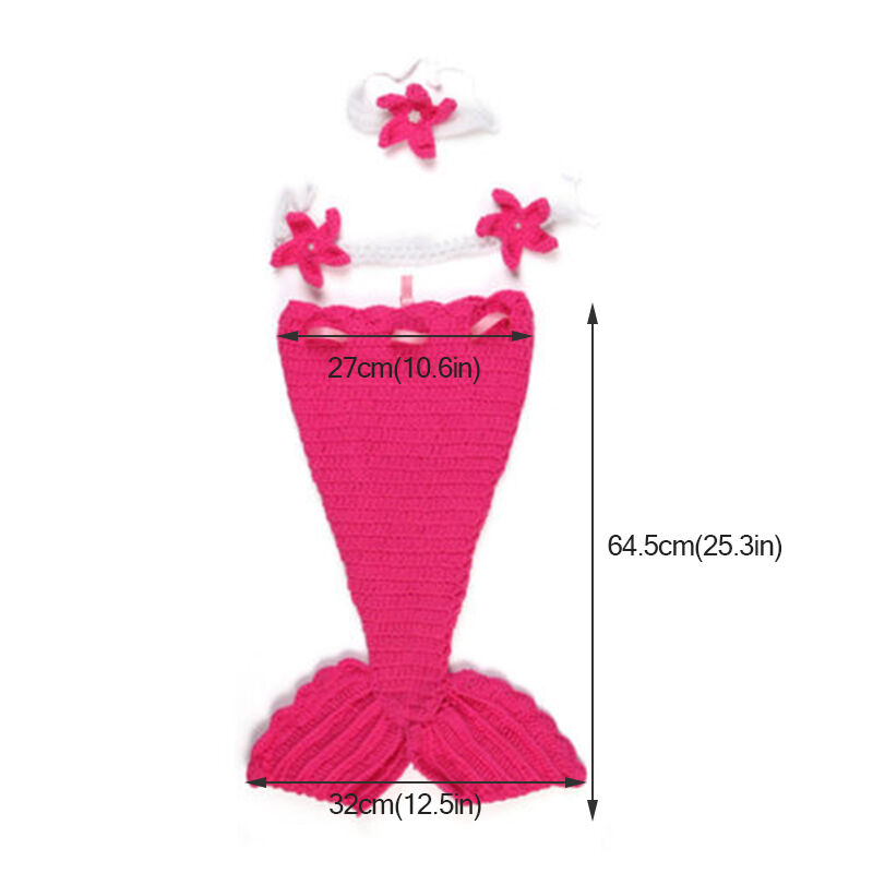 Newborn Baby Girl Knit Crochet Mermaid Tutu Dress Costume Baby Photo Prop Outfit