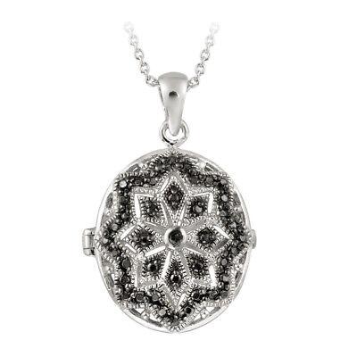 Diamond Oval Locket (Black Diamond Accent Filigree Oval Locket Necklace, 18