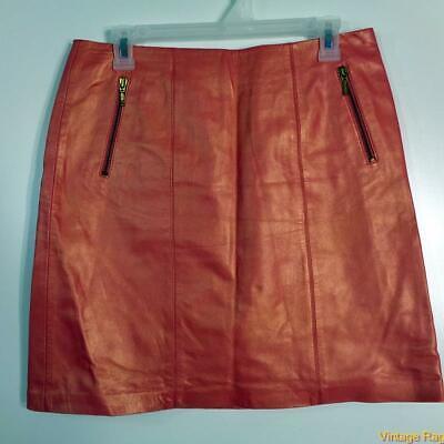 CACHE Sexy Soft Lambskin Leather Skirt Size 8 Rosebud pink shiny