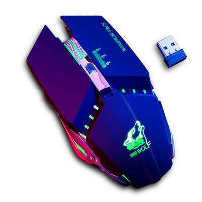 Free Wolf X11 Wireless Gaming Mouse 2400dpi Rechargeable 7 color Breathing Black