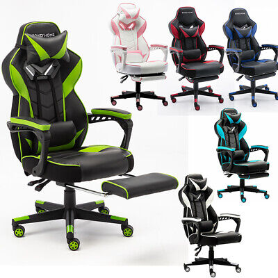 Gaming Chair High Back Recliner Leather Swivel Office Eoronomic Desk W Headrest