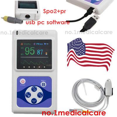 Contec Finger Tip Pulse Oximeter Cms60d Fda Spo2 Monitor Oled Usb Pc Sw
