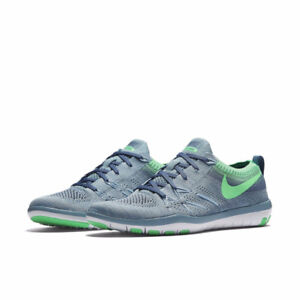 New Nike Free TR Flyknit Training Shoes 7.5 Blue/Green running