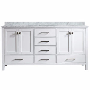 """72"""" Double Vanity in White with Carrara White Marble Top"""