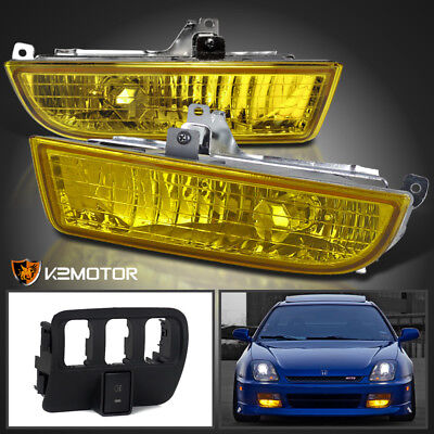 For 1997-2001 Honda Prelude JDM Yellow Fog Lights+Switch w/ Aluminum Housing