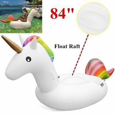 "84"" Inflatable Unicorn Rainbow Pool Float Raft Swimming Water Fun Sports Toy New"