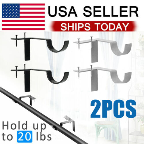 2PCS Metal Single Hang Curtain Rod Holders Bracket Into Window Frame Rod Bracket Curtain Rods & Hardware