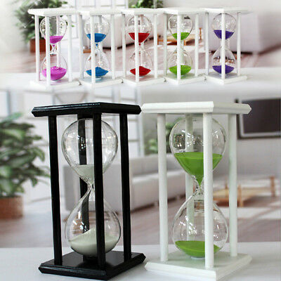 (30 60 Minutes Colorful Sand Large Wooden Hourglass ,Creative Gift Hourglass)