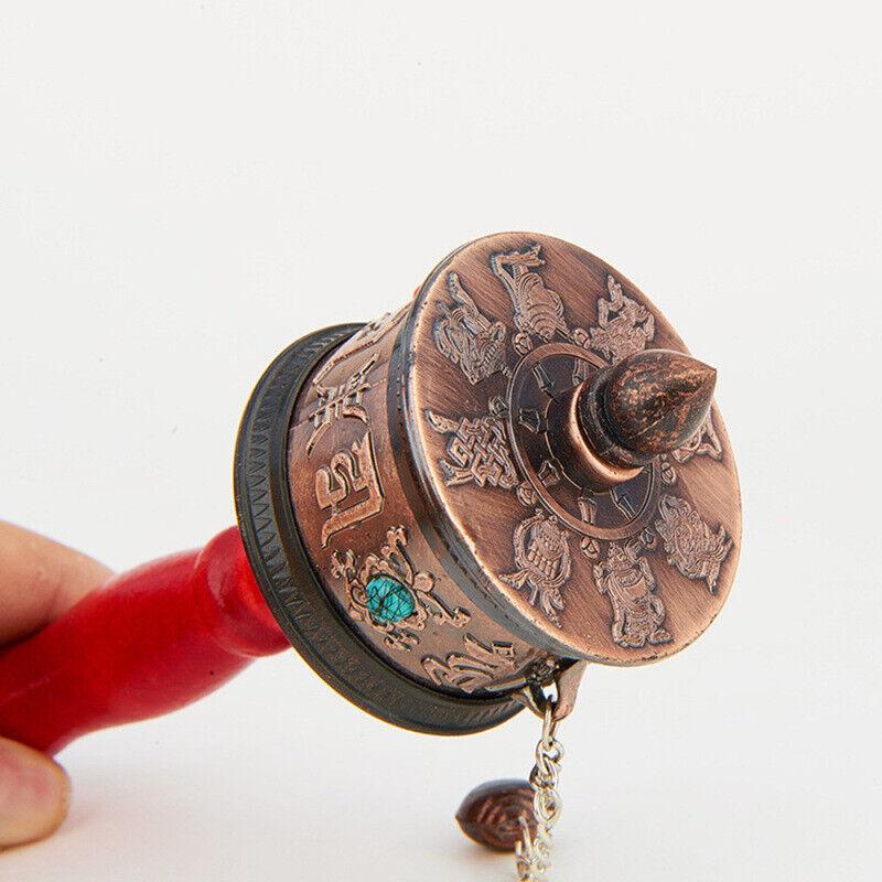 14cm Dlicated Hand Moving Tibetan Tibet Buddhist Prayer Wheel