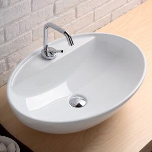 Lavabo da appoggio softly con foro per rubinetto ceramica bianco ebay - Rubinetto lavandino bagno ...