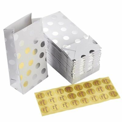 24-Pack Silver Foil Polka Dot Paper Party Favor Bags for Birthday Party Gift Bag