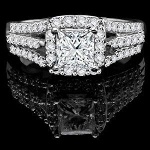 White Gold Diamond Engagement Ring 2.05CTW Bague de Fiançailles