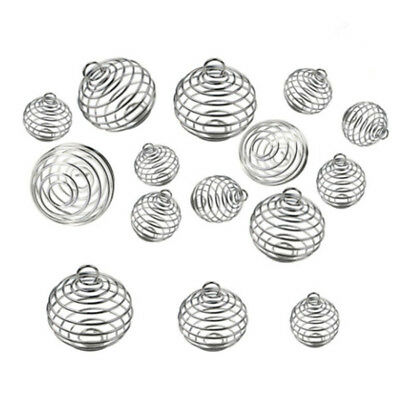 30x/Set Spiral Bead Cage Pendant Silver Plated Craft Jewelry Making DIY#Gift G0