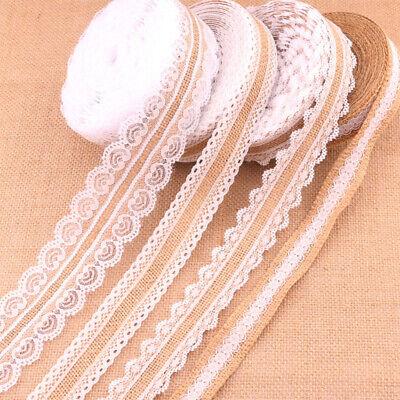 Burlap Lace Ribbon Wedding Decor Trim Edge Natural Jute Handicrafts Bilateral 1m - Burlap Lace Ribbon