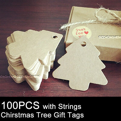 100pcs Brown Kraft Paper Christmas Tree Gift Parcel Tags Label Luggage + Strings