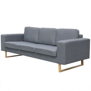 New 3 Seater Fabric Sofa W Wooden Legs In Light Grey