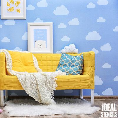 (Cloud STENCIL. Nursery Sky DECORATING. Kids Home WALL DECOR. Painting Stencils.)