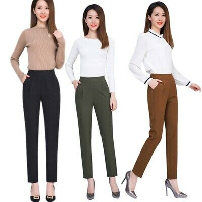Women High Waist Work Pants Office Uniform Lady Formal Waist Elastic Trousers