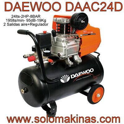 DAAC24D COMPRESOR ELECTRICO DAEWOO 2HP 24LTS + KIT AIRE COMPRIMIDO SOLOMAKINAS