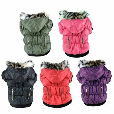 US Pet Small Dog Warm Cotton Hoodie Jacket Coat Puppy Winter Clothes Pet Costume