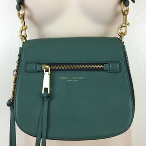 New Marc Jacobs Womens Green Recruit Green Leather Saddle Bag