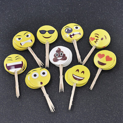 Cupcake Accessories (Party Emoji Cupcake Toppers for Birthday Celebration Accessories Kids)