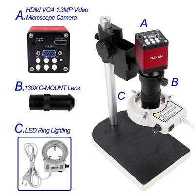 Microscope Camera Set C Mount Lens 56 Led Ring Light Stand 130x Stereo Monocular