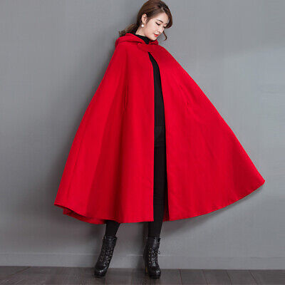 Red Ridding Hood Cape (Retro Red Women Ridding Cosplay Cape Coat Hooded Thicken Woolen Cloak Jacket)