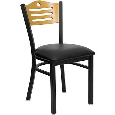 Metal Restaurant Chair With Wood Slat Back Design Black Vinyl Seat