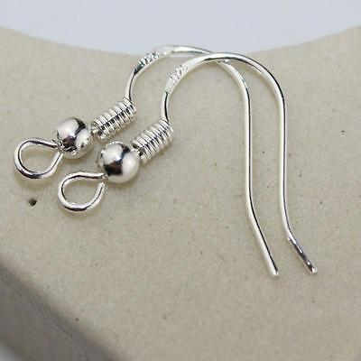 100PCS DIY Findings  A+ 925 Silver Plated Earrings Hook Coil Ear Wires
