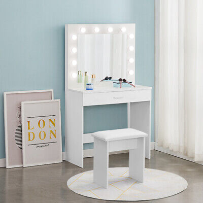 White Dressing Table LED lights Vanity Table With Mirror Stool Bedroom Furniture