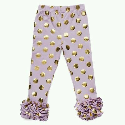 Polka Dot Ruffle Legging - Triple Ruffles Leggings with polka dot Girl 3T/4T