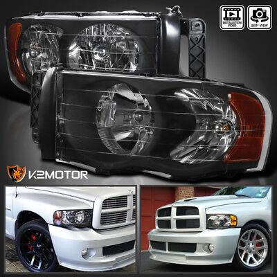 2002-2005 Dodge Ram 1500 2003-2005 Ram 2500 3500 Black Headlights Left+Right